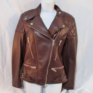 New CELINE ITALY LEATHER Moto Riding jacket coat